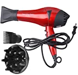 AOTUOUZIS 2200W 110V Ionic Ceramic Hair Dryer with 2 Speeds and 4 Heat Settings. (Red)