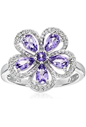 Sterling Silver Amethyst Flower Diamond Ring (1/10cttw, I-J Color, I2-I3 Clarity), Size 7