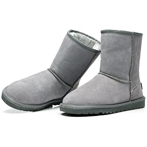 Rismart Faux Lined Calf Grey Classic Available Boots Suede Colors Women Many Snow Fur Mid Yqr6YwI
