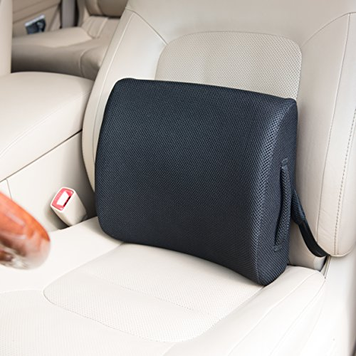 Posturely Any Seat Premium Memory Foam Lumbar Support Pillow for Car, Desk, Office Chair, Recliner For Lower Back Pain Relief | Bonus Extension Strap | Black Mesh (M) by Posturely