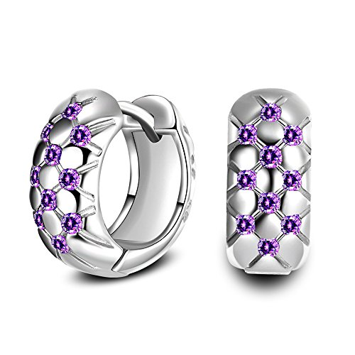 (Uloveido Simple Stylish Checkered Grooves Rhombus Cut Grids Platinum Plated Hoop Stud Earrings with Mystic Purple Cubic Zirconia Stones HE488-Silver)
