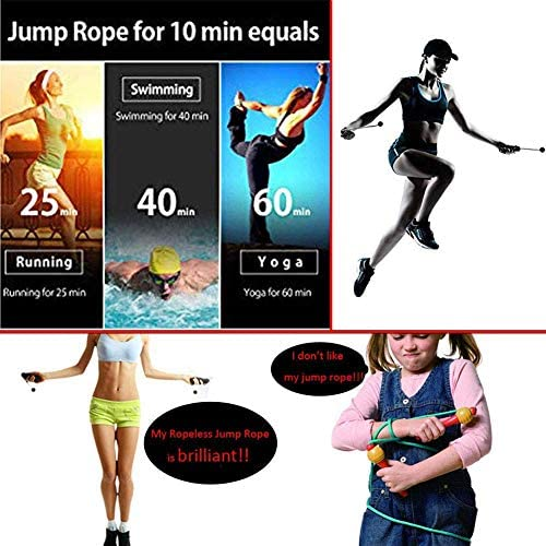 Cordless Jump Rope Home Exercise - Adjustable Ropeless Speed Skipping Rope for Men Women Child Tangle Free Indoor Gym Workout, Fitness, Crossfit Training Accessories for Any Ages and Levels 4