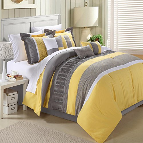 8 Piece King Bedroom (Chic Home 8-Piece Embroidery Comforter Set, King, Euphoria Yellow)