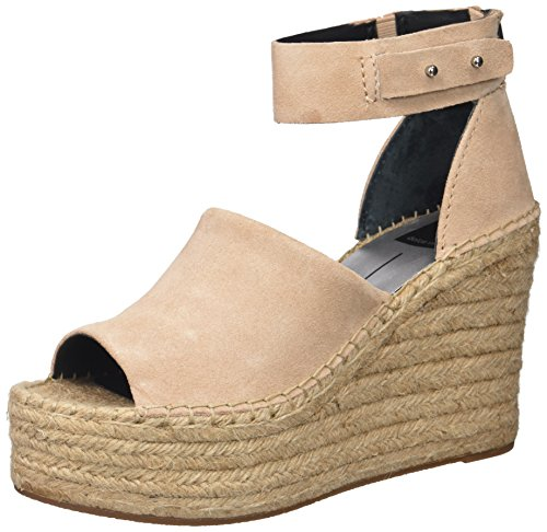 Dolce Vita Women's Straw Wedge Sandal Blush Suede 8.5 Medium US