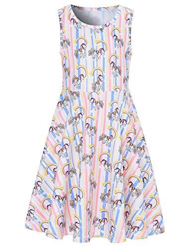 Funnycokid Unicorn Girls Sundress Kids Sleeveless Holiday Party Dress 10-12 Girls Dresses for School