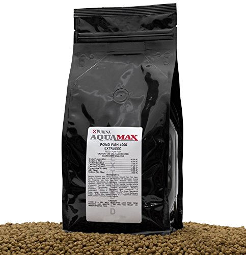 Purina Mills Aquamax Pond Fish 4000, 32 Percent Protein, 3/16 Inch(4.8mm) Floating Pellet For Catfish, Tilapia, Large Koi and Goldfish, Carp, and Many Other Omnivorous Fish That Normally Populate Ponds (Pond Large Pellet)