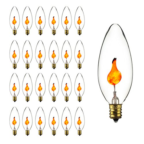 (Sunlite 3CTC/25PK 3W Halloween Incandescent Chandelier Flickering Flame Light Bulbs with Candelabra E12 Base and Crystal Clear Bulb (25)