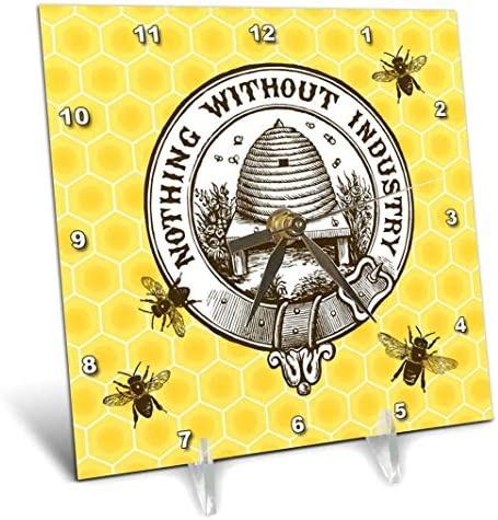 3dRose Pretty Honey Bees Around Bee Hive on Honeycomb Background – Desk Clock, 6 by 6-Inch dc_219441_1