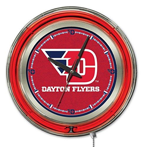 Holland Bar Stool Company NCAA Dayton Flyers Double Neon Ring Logo Clock, 15-Inch Diameter, Chrome