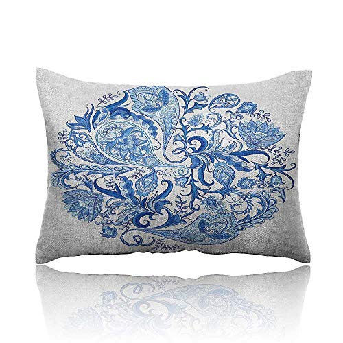 """Anyangeight Ethnic Standard Pillowcase Classic Paisley Petals Circular Shape Blue Tones Swirls Branches Motif Pillowcase Protector 18""""x26"""" Blue Navy Blue and White"""