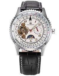AMPM24 Tourbillon Automatic Moon Phase 24 Hours Mechanical Men's Black Leather Wrist Watch PMW387