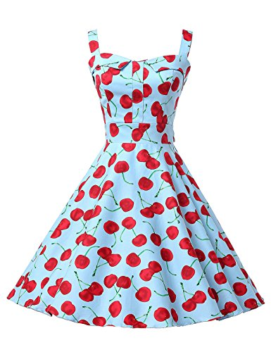 Vintage Cherry Print Swing Pinup Ball Gown Party Evening Dresses (Small, 7#)