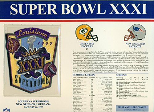 (Super Bowl XXXI Official Patch Green Bay Packers vs New England Patriots at Louisiana Superdome)