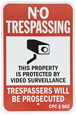 """SmartSign Security Sign, Legend """"California No Trespassing Video Surveillance"""" with Graphic, Black/Red on White"""
