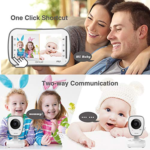 """51ls7EmM gL - [HD] Video Baby Monitor, AXVUE 720P 5"""" HD Display, IPS Screen, 2 HD Cams, 12-Hours Battery Life, 1000ft Range, 2-Way Communication, Secure Privacy Wireless Technology"""