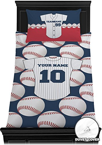 Baseball Jersey Duvet Cover Set - Twin (Personalized) (Personalized Bedding Sets)