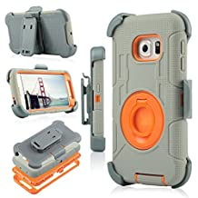 Galaxy S6 Edge Case, Jwest [Heavy Duty] Full-body Rugged Dual Layer Hybrid Armor Defender Holster Case WITHOUT Built-in Screen Protector for Samsung Galaxy S6 Edge (2015 Release) (Gray/Orange)