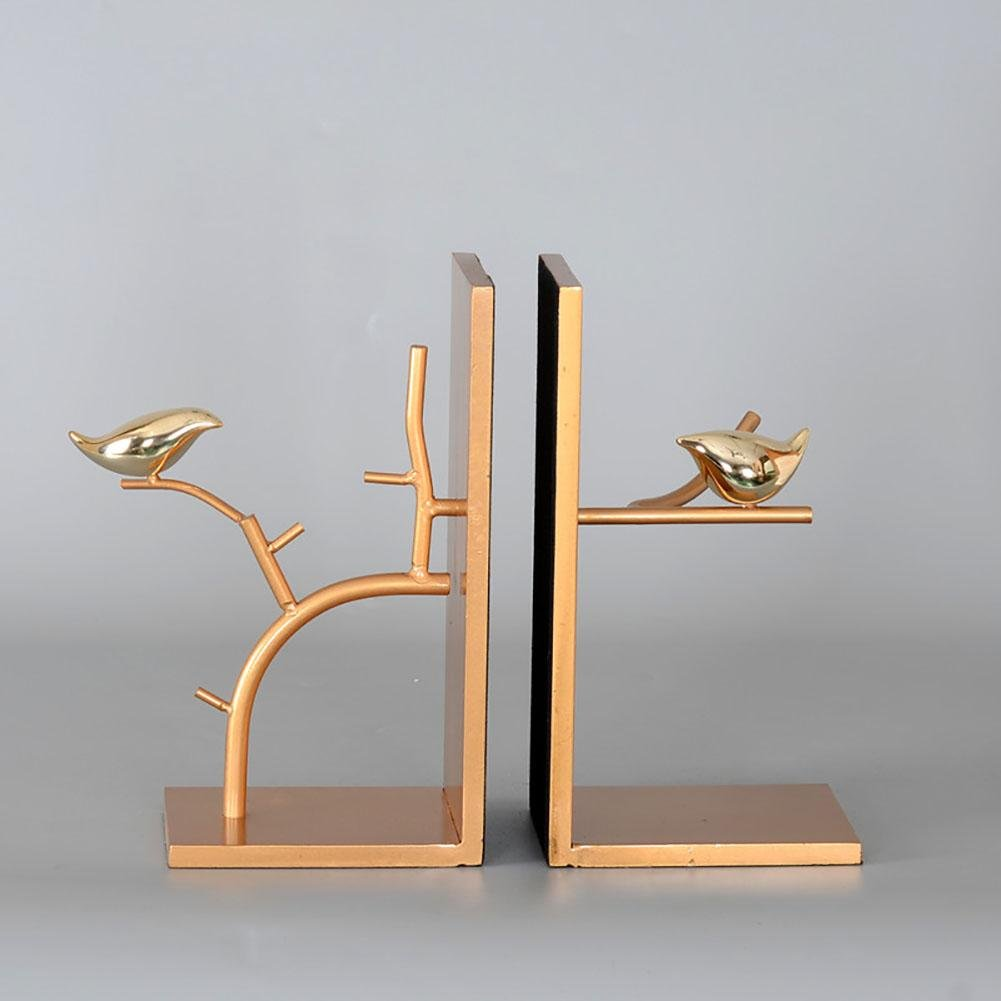LPY-Set of 2 Bookends Metal Simple Style Crafts, Book Ends for Office or Study Room Home Shelf Decorative