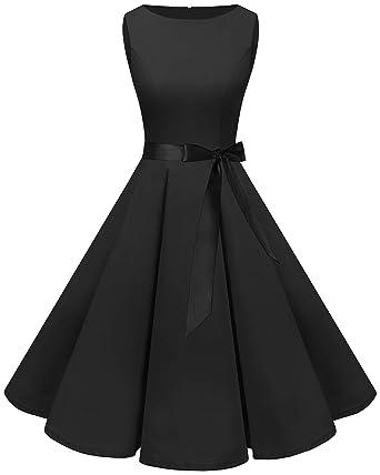 a63fd0b68648 Bbonlinedress Women's 1950s Audrey Summer Vintage Rockabilly Swing Dress  Black XS