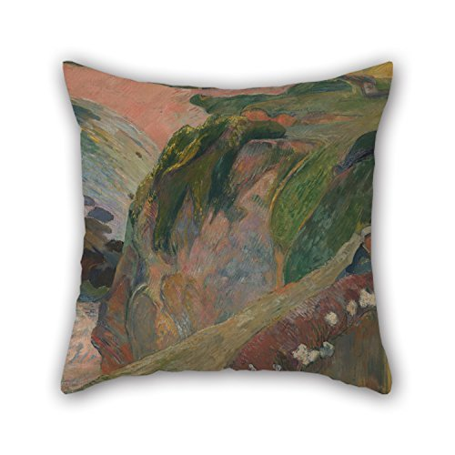 The Oil Painting Gauguin, Paul - The Flageolet Player On The Cliff Throw Pillow Covers of 16 X 16 Inches / 40 by 40 cm Decoration Gift for Sofa Husband Kitchen Kids Boys Relatives Divan (Both Side -