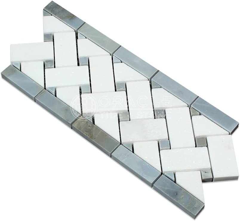 Thassos White Greek Marble Basketweave Border Mosaic Tile with Blue /& Gray Marble Dots Honed