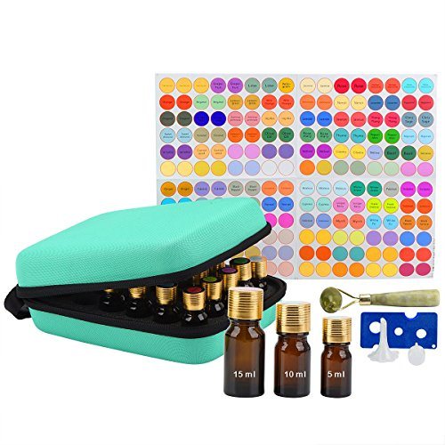 Essential Oils Storage Case for 30 Bottles - 5 10 15 ml Hard Essential Oils Carrying Case - EVA Essential Oil Travel Case - Holds Young Living & Doterra Containers (Green)