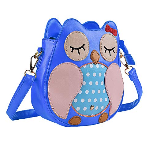 Kids Owl Faux Leather Shoulder Bag for Little Girls Toddlers Crossbody Handbag Purses - Blue