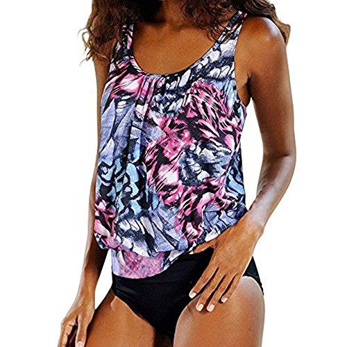 Femmes Xinvision Dames Été De Taille Plus Deux Maillots De Bain Pièce Push-up Rembourré Bikini Natation Beachwear Imprimé Floral Set Tankini Violet