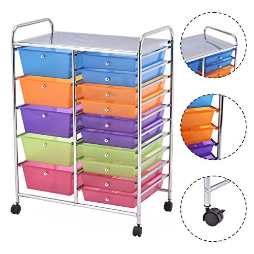 15 Drawer Rolling Storage Cart Tools Scrapbook Paper Office School Organizer NEW by Magic Tech