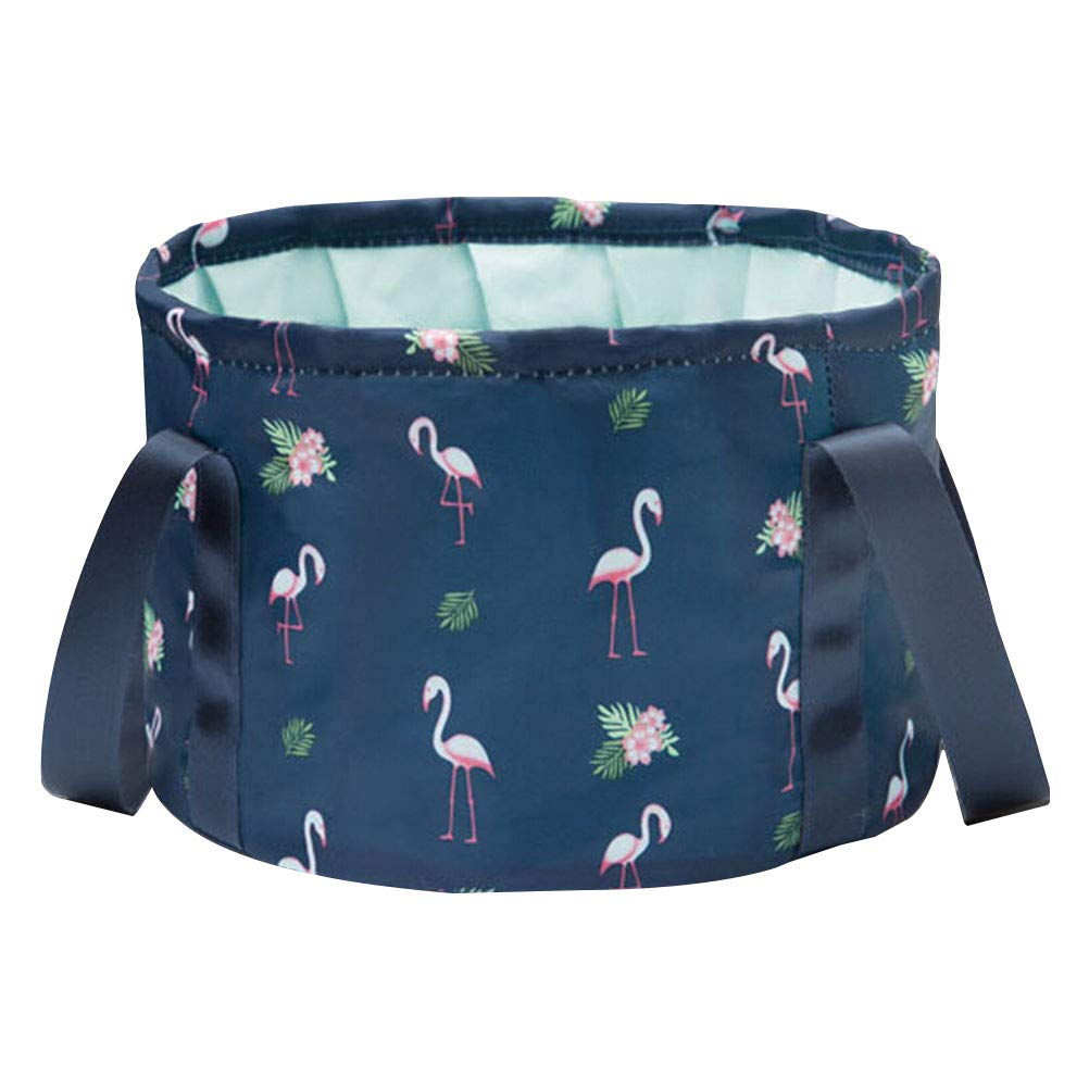 ULTNICE Folding Bucket Bag Outdoor Compression Storage Bag Travel Carry Washing for Face Feet Storage Basin 10L (Flamingo Dark Blue)