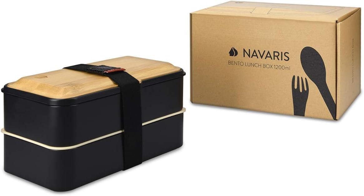 Lunch Box para Colegio o Trabajo Navaris Recipiente herm/ético Estilo bento En Blanco Fiambrera con 2 Compartimentos Cubiertos y Tapa de bamb/ú