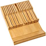 BAYKA Knife Block In-Drawer Knife Holder, Moso Bamboo Kitchen Knife Storage Drawer Organizer, Large Handle Spacing Knife Block Without Knives, Fit for 16 Knives and 1 Sharpener