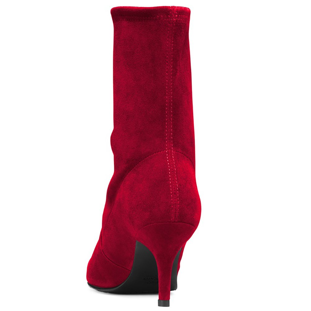 Sock Boots for Women,Women's Slip Calf On Pointed Toe Mid Calf Slip Boots Stretchy Suede Kitten Heel Booties B078RKXFC7 11 B(M) US|Red Suede-6.5cm f3e9d7
