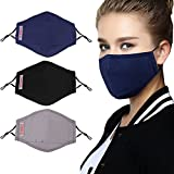 Outgeek 3PCS Mouth Mask Dust Proof Multipurpose Face Mouth Mask with Filter Anti Dust Face Mouth Mask,Black Cotton Face Mask for Cycling Camping Travel for N95-Adult PM 2.5 Protection