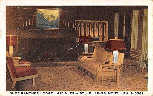 Billings Montana Dude Rancher Lodge Interior Antique Postcard - Stores Billings Montana