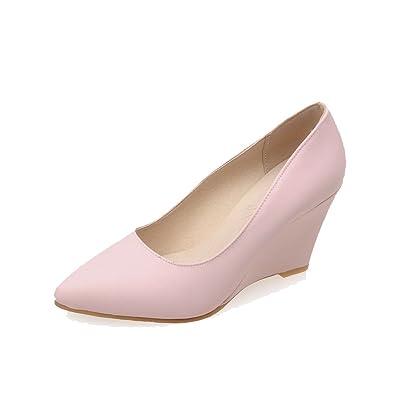 AgooLar Damen PU Rund Zehe Hoher Absatz Ziehen auf Rein Pumps Schuhe, Pink, 43