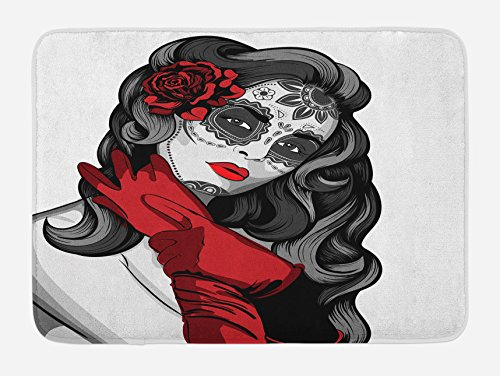 Lunarable Skull Bath Mat, Sexy Sugar Skull Lady with Mexican Style Floral Mask Evil Gothic Dead Art, Plush Bathroom Decor Mat with Non Slip Backing, 29.5 W X 17.5 W Inches, Grey White Black Red by Lunarable