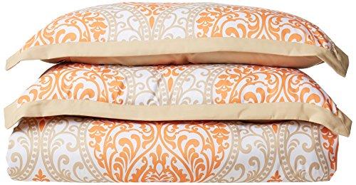 Four Star Round Comforter - Intelligent Design Senna Comforter Set King/Cal King Size - Orange/Taupe, Damask – 5 Piece Bed Sets – Ultra Soft Microfiber - All Season Comforter Set Bedding
