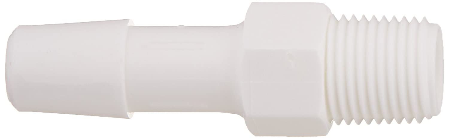 1//8-27 NPT to 5//16 Hose Barb 1//8-27 NPT to 5//16 Hose Barb Eldon James A2-5WP White Polypropylene Adapter Fitting Pack of 10 Pack of 10