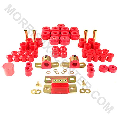 - Energy Suspension 2.18103R Hyper-Flex System; Red; Incl. Front/Rear Spring/Shackle Bushings; Front Sway Bar Bushings; Body Mounts;Trans. Torque Arm Bushings; Tie Rod End Boots; Performance Polyurethane;
