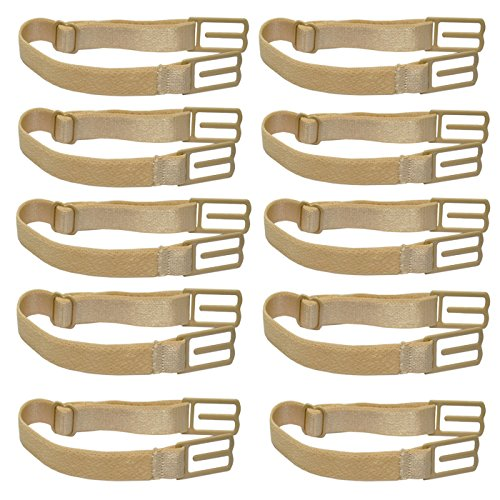 Jelinda Women's Non-slip Elastic Bra Strap Holder (Skin Color-10PCS)