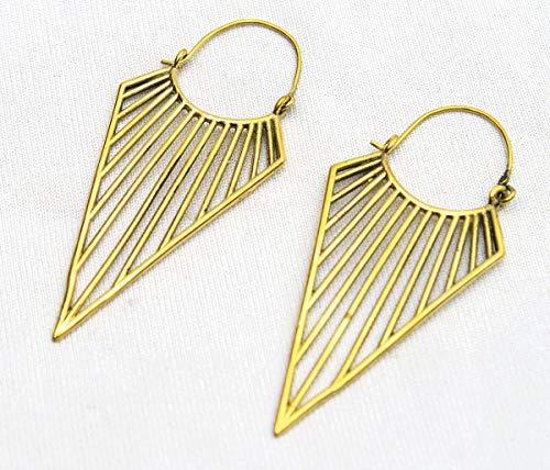 Handmade Ethnic Stunning Brass Boho Tribal Fashion Women Gold Plated Earrings Gift for Her
