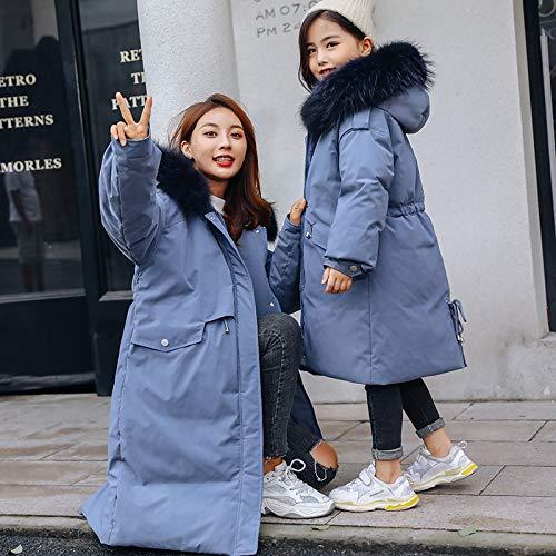 FDSAD Warme Jacke Im Freien Kinder Thermojacke Mädchen Langen Abschnitt Neue Koreanische Version Der Großen Kinder Dicke Eltern-Kind-Jacke Geeignet Für Die Höhe 120Cm Hellblau