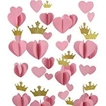 Mybbshower Gold Pink 3D Heart Crown Garland Girl Birthday Balloon Tail Pack of 5