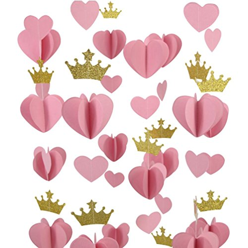Mybbshower Gold Pink 3D Paper Heart Crown Garland Girl Princess Birthday Party Nursery Room Decor Balloon Tail Pack of 5 -