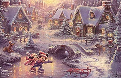 Thomas Kinkade Christmas.Amazon Com Mickey Mouse And Minnie Skating Thomas