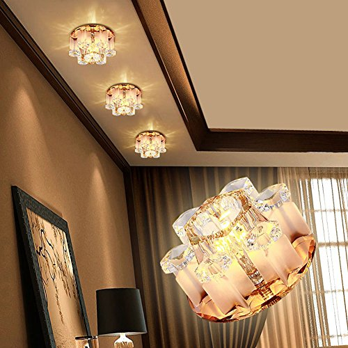3W LED Ceiling Light Lamp 110-240V Round Flush Mounted Fitting Wall Lights for Living Room, Kitchen, Hallway, Corridor, Aisle, Bedroom, Bathroom and More Lighting Fixture Decor (3w Crystal Warm White)