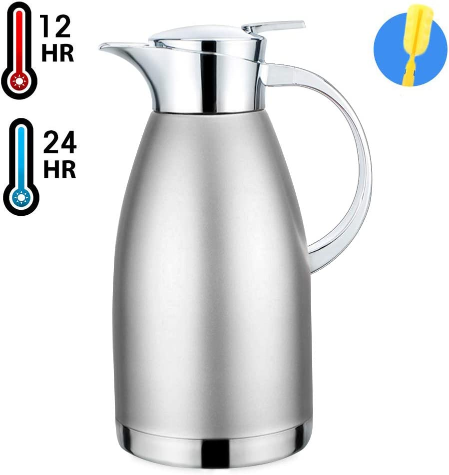 61oz Coffee Carafe Airpot Insulated Coffee Thermos Urn Stainless Steel Vacuum Thermal Pot Flask for Coffee, heiß Water, Tea, heiß Beverage - Keep 12 Hours Hot, 24 Hours Cold (Silver)