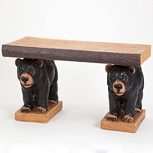 Bits and Pieces – Rustic Bear Pair Bench – Realistic Black Bears Holding Accent Seating Bench – Indoor or Outdoor Decorative Bench D cor