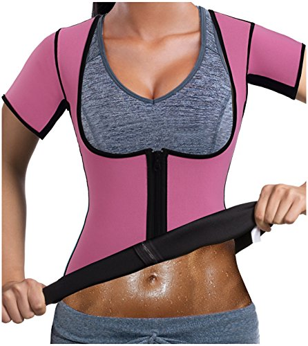 Gotoly Women Neoprene Zipper Front Hot Sweat Slimming Shirt Vest Body Shapers(2XL Fit 36.2-39.3 inch Waistline, Pink) by Gotoly